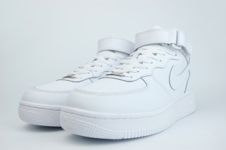кроссовки Nike Air Force 1 Mid Fur Triple White