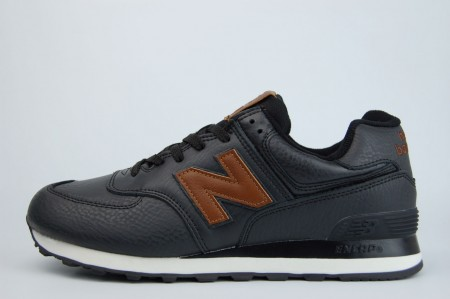 кроссовки New Balance 574 Leather Black / Brown